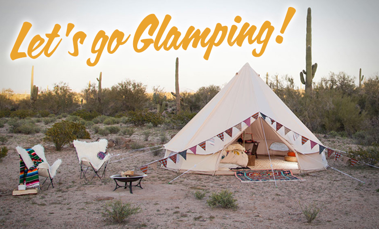 The ultimate glamping accessory - a Stout bell tent pitched in a desert