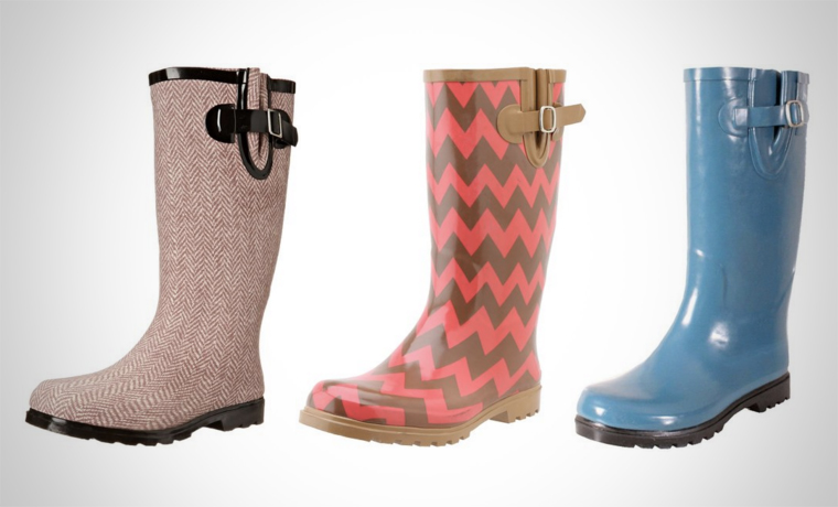 A selection of colourful rain boots