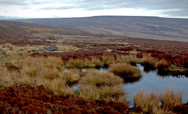 Yorkshire Moors with pond and tent