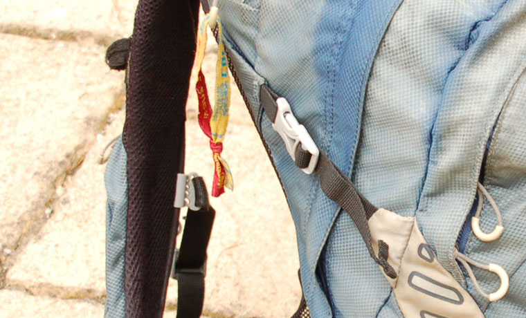 Compression straps on backpack