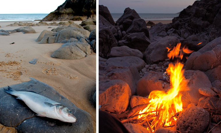 Fish and fire on beach