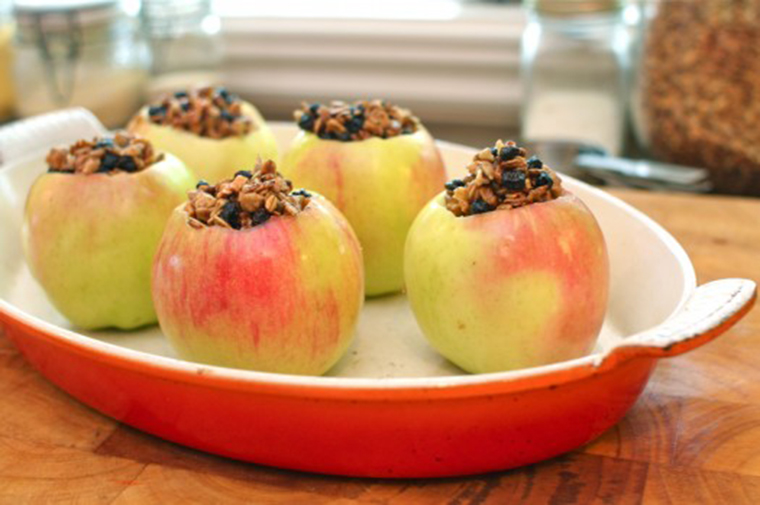 Maple pecan baked apples in dish