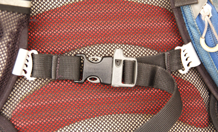 Sternum strap on backpack