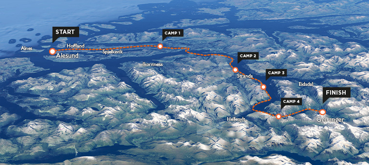 Map of sea kayaking route in Norway