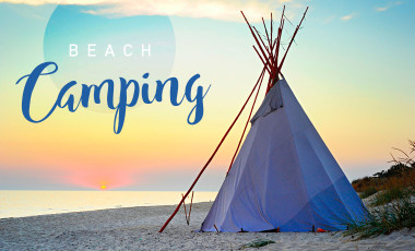 Beach camping in a Tipi at sunrise