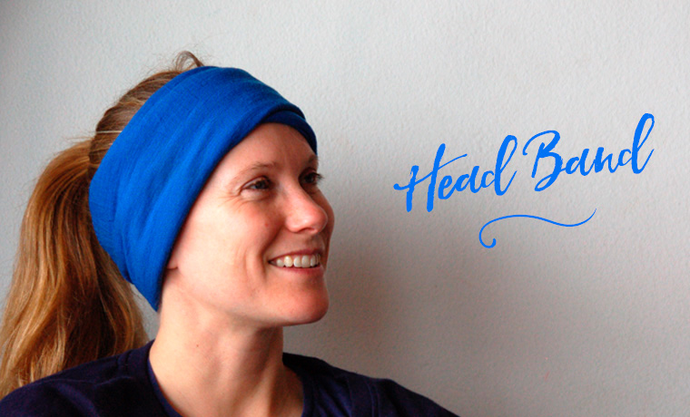 Woman wearing a Buff as a head band