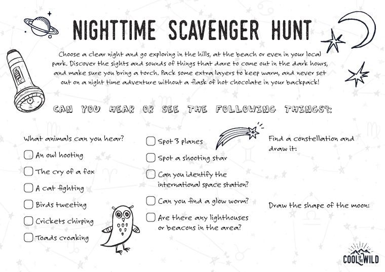 Printable Nighttime Scavenger Hunt Ideas