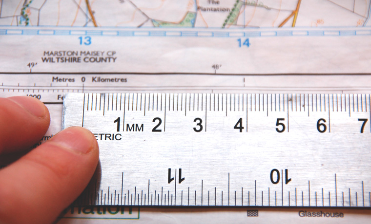 Ruler measuring scale on a map