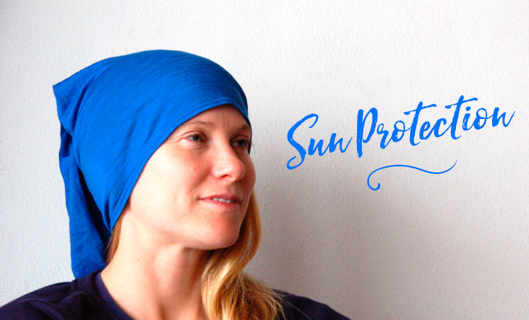Woman wearing a Buff for sun protection