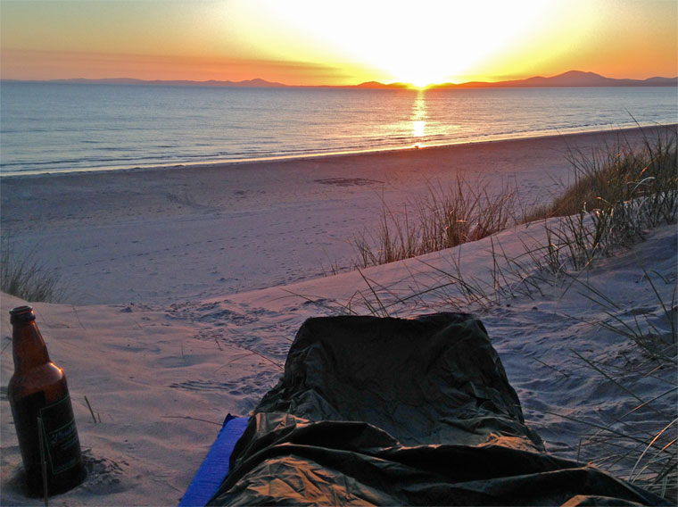Beach Bivvy at sunset