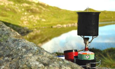Backpacking stove near lake