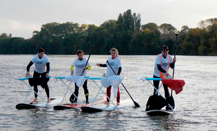Extreme Ironing on paddleboards