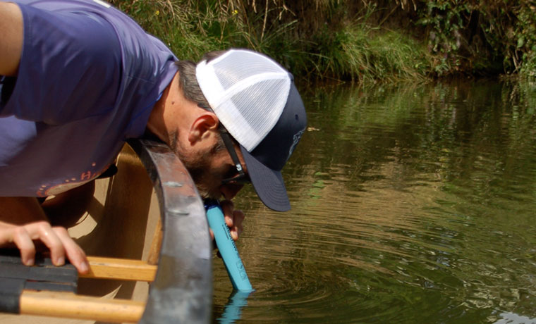 Drinking river water through a Lifestraw water filter