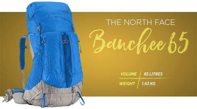 The North Face Banchee 65 backpack for hiking