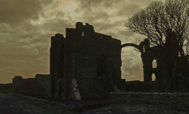 Castle ruins at night