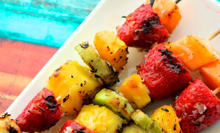 Grilled fruit kabob