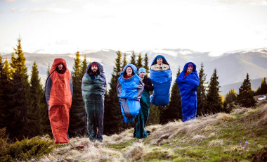 Jumping in sleeping bags to stay warm