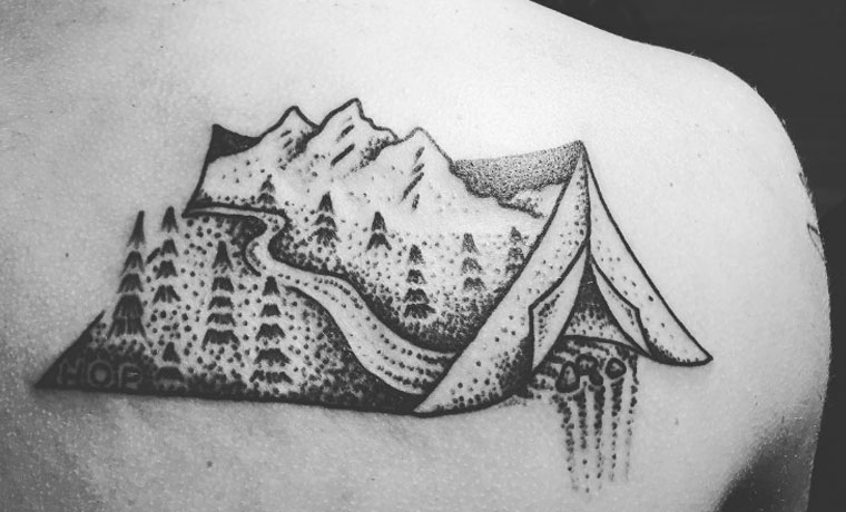 6876abc666ce4 38 Brave and Committed Hiking and Camping Tattoos - Cool of the Wild