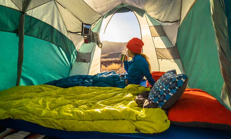 Camping Pillows in a tent