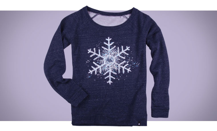 Navy Glower sweater with white snowflake