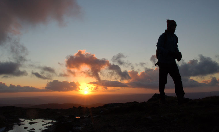 Hiker at sunrise