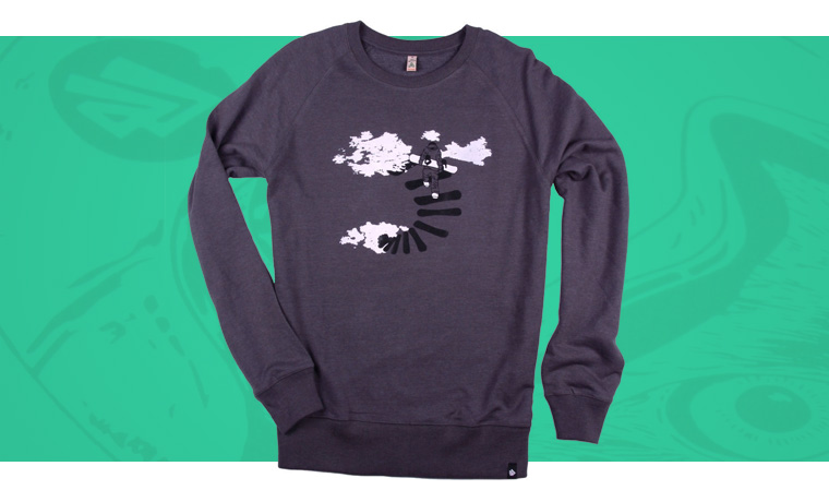 Glower sweater with snowboard design