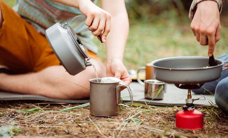 Camping for beginners cooking food