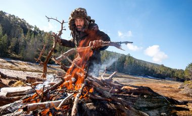 Ed Stafford making a campfire