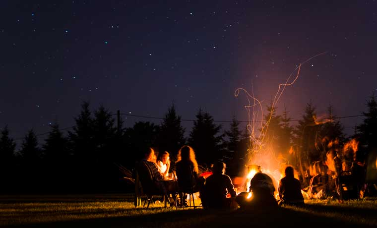 Campfire on camping for beginners weekend