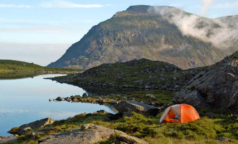 Backpacking tent in mountains