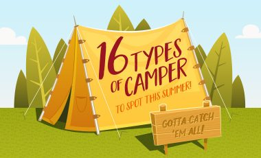 16 types of campers cartoon