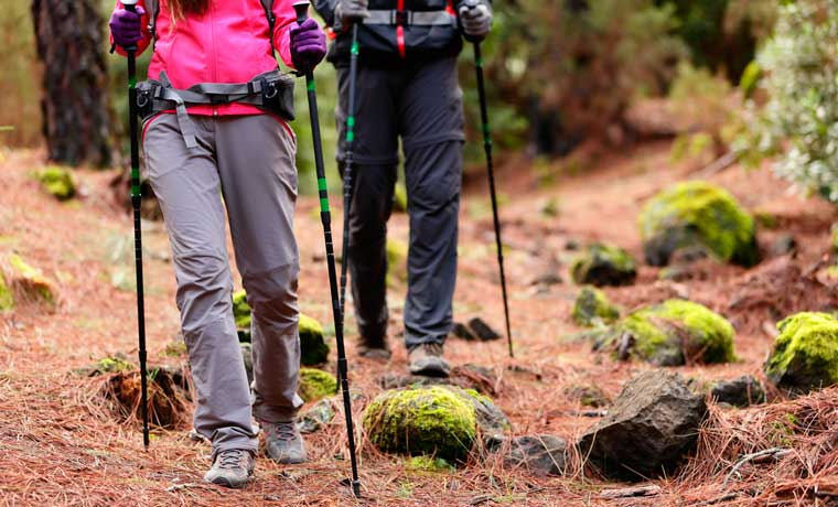 Couple hiking with the best trekking poles