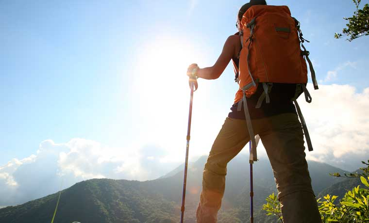 Hiking with trekking poles