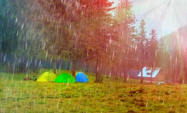 Tents in the rain