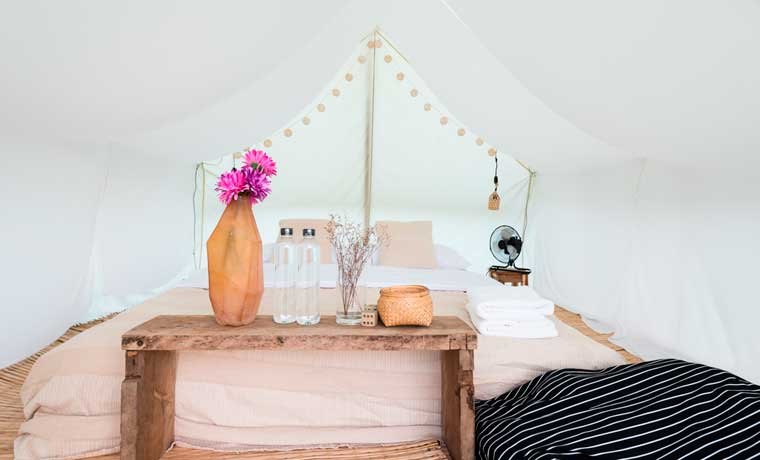 Inside a tent to see what is glamping