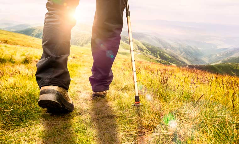Man hiking in the hills