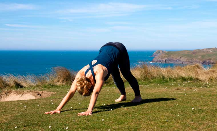 Downward dog yoga for trail running