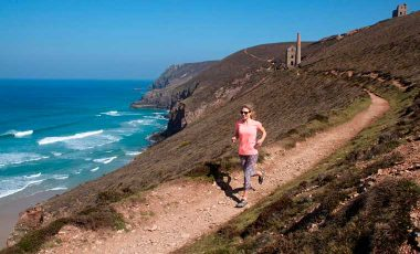 Trail running on cliff path