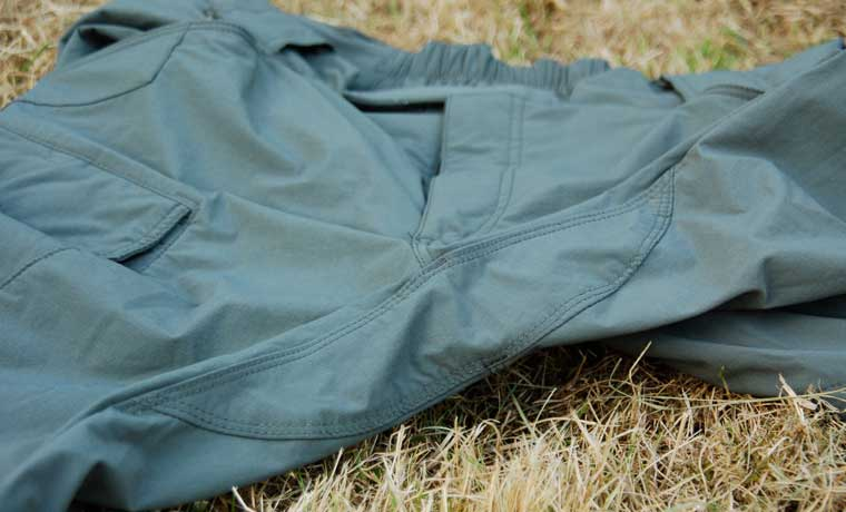 Gusseted crotch of hiking pants
