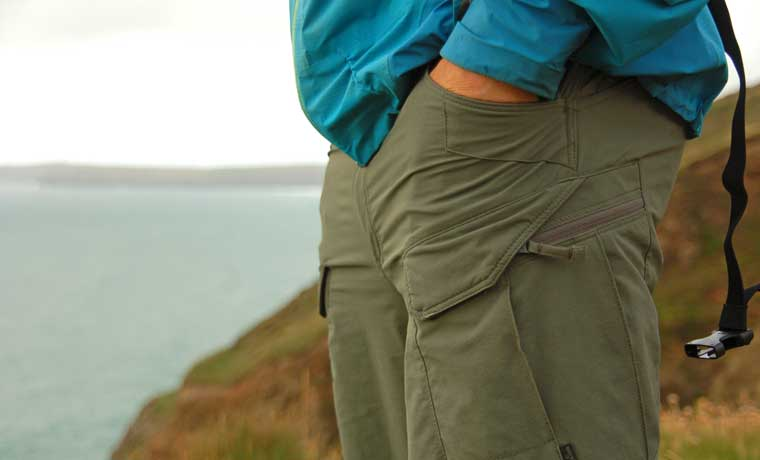 Hiking pants with hands in pocket
