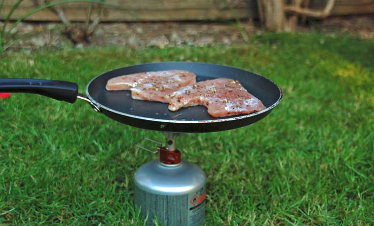Tuna steaks on camping stove