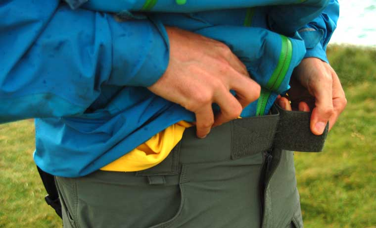 Velcro waist band of hiking pants