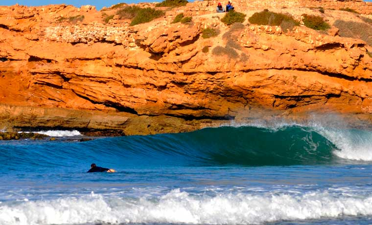 Morocco waves and surfer