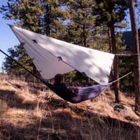 Diamond tarp for hammock camping