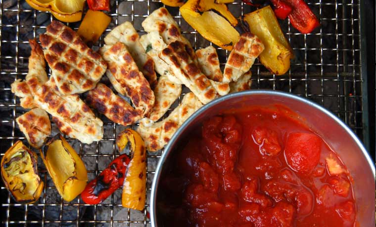 Grilled halloumi and pepper camping stew recipe cool of the wild vegetarian camping food on the grill forumfinder Images