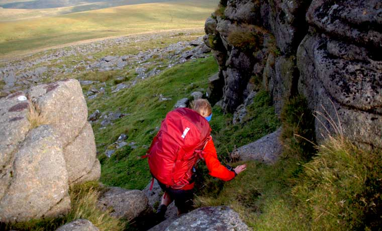 Scrambling with backpack