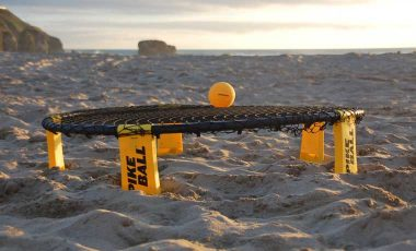 Spikeball net on beach