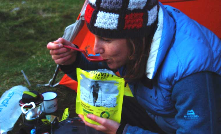 Eating camping food