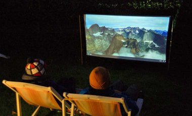 Watching movie outdoors