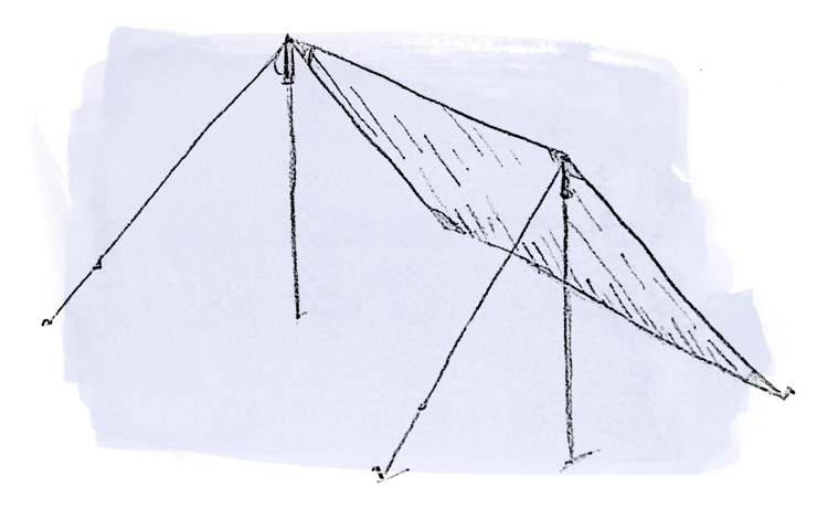 Lean to tarp setup sketch